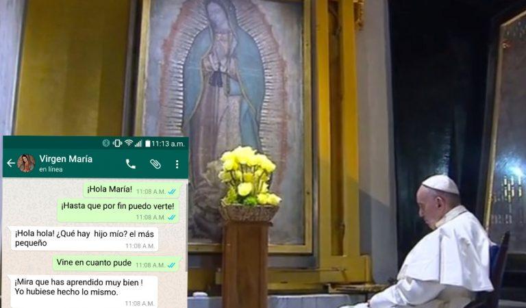 Se filtra conversación de  whatsapp entre el Papa y la Virgen durante su visita a la Basílica