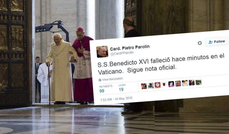 Muere Papa Benedicto asegura cuenta falsa de Card. Pietro Parolin